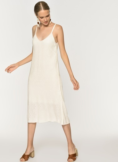 Loves You Ajurlu Astarlı Triko Elbise Beyaz
